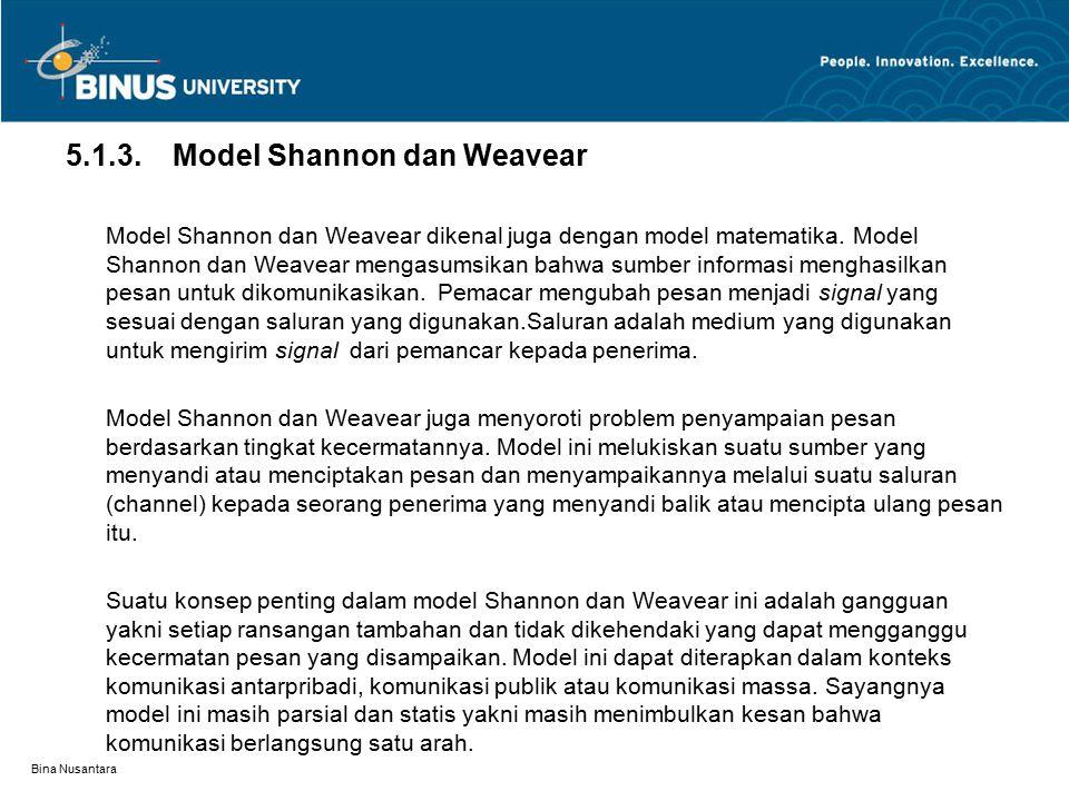 Bina Nusantara 5.1.3.Model Shannon dan Weavear Model Shannon dan Weavear dikenal juga dengan model matematika. Model Shannon dan Weavear mengasumsikan
