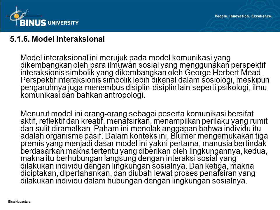 Bina Nusantara 5.1.6. Model Interaksional Model interaksional ini merujuk pada model komunikasi yang dikembangkan oleh para ilmuwan sosial yang menggu