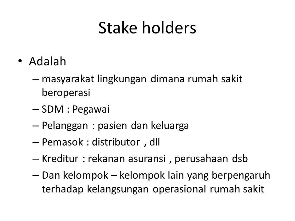 Stake holders Adalah – masyarakat lingkungan dimana rumah sakit beroperasi – SDM : Pegawai – Pelanggan : pasien dan keluarga – Pemasok : distributor,