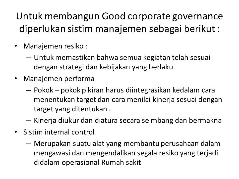 Untuk membangun Good corporate governance diperlukan sistim manajemen sebagai berikut : Manajemen resiko : – Untuk memastikan bahwa semua kegiatan tel