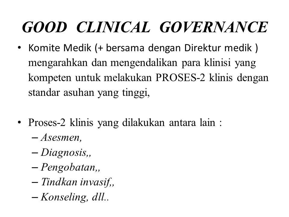GOOD CLINICAL GOVERNANCE Komite Medik (+ bersama dengan Direktur medik ) mengarahkan dan mengendalikan para klinisi yang kompeten untuk melakukan PROS