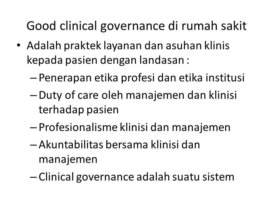 Good clinical governance di rumah sakit Adalah praktek layanan dan asuhan klinis kepada pasien dengan landasan : – Penerapan etika profesi dan etika i