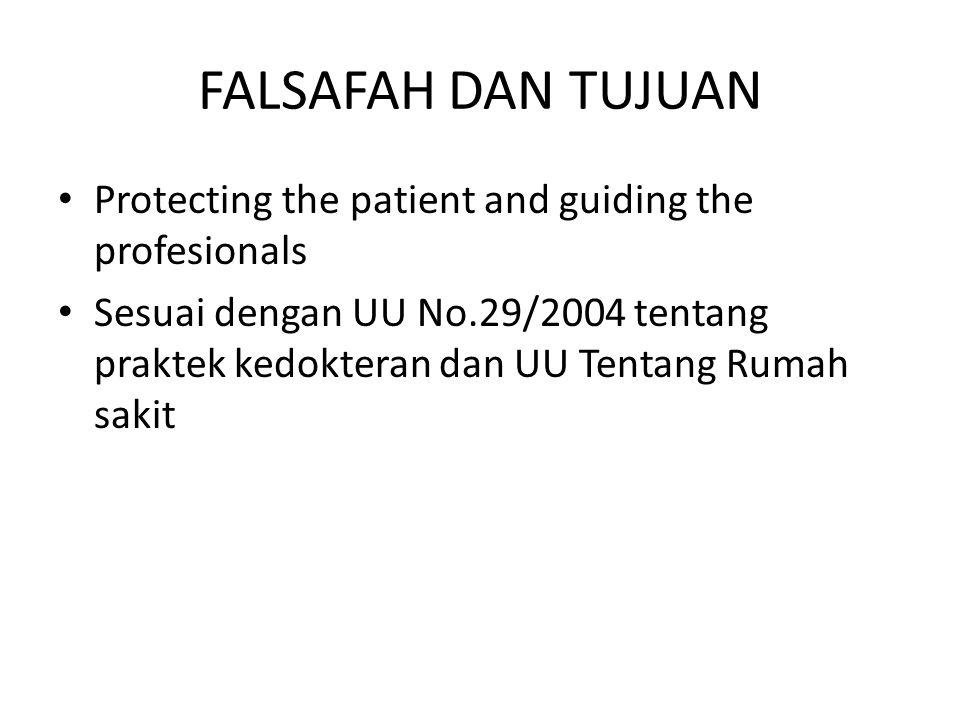 FALSAFAH DAN TUJUAN Protecting the patient and guiding the profesionals Sesuai dengan UU No.29/2004 tentang praktek kedokteran dan UU Tentang Rumah sa