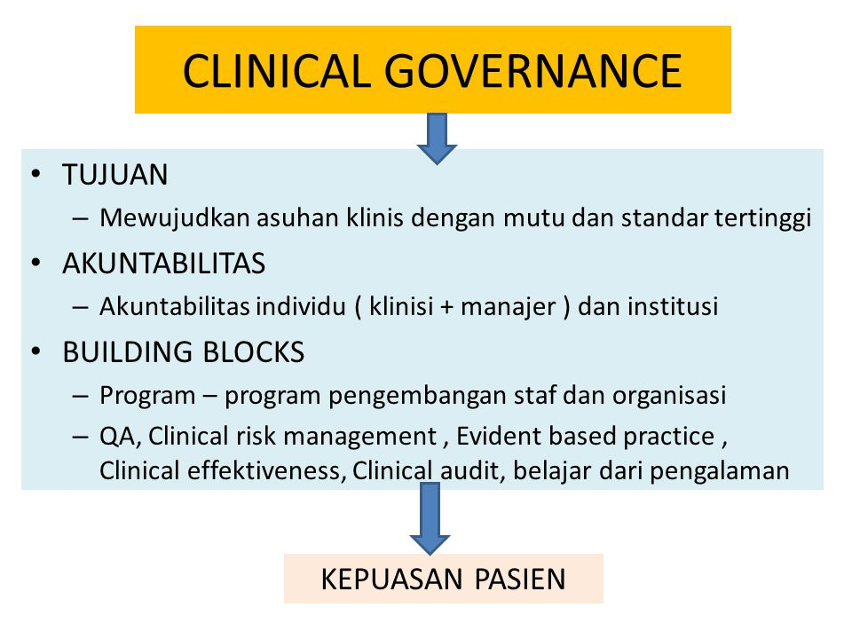 CLINICAL GOVERNANCE TUJUAN – Mewujudkan asuhan klinis dengan mutu dan standar tertinggi AKUNTABILITAS – Akuntabilitas individu ( klinisi + manajer ) dan institusi BUILDING BLOCKS – Program – program pengembangan staf dan organisasi – QA, Clinical risk management, Evident based practice, Clinical effektiveness, Clinical audit, belajar dari pengalaman KEPUASAN PASIEN