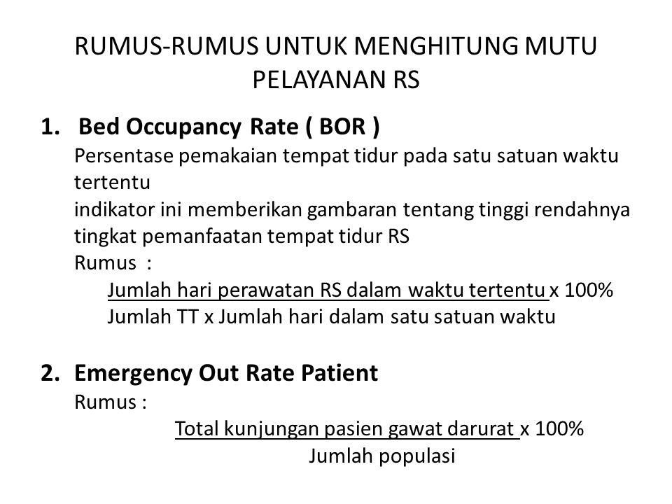 RUMUS-RUMUS UNTUK MENGHITUNG MUTU PELAYANAN RS 1.Bed Occupancy Rate ( BOR ) Persentase pemakaian tempat tidur pada satu satuan waktu tertentu indikato