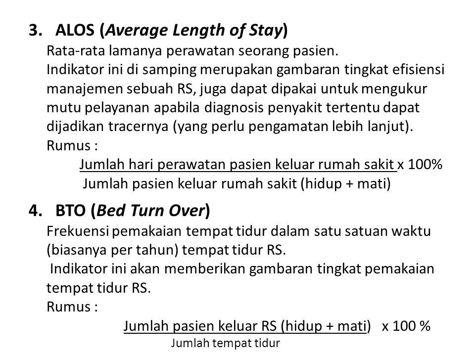 3.ALOS (Average Length of Stay) Rata-rata lamanya perawatan seorang pasien. Indikator ini di samping merupakan gambaran tingkat efisiensi manajemen se
