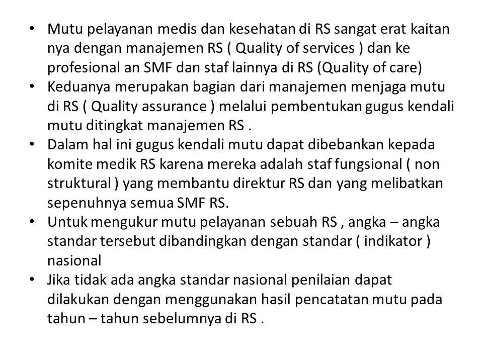 Mutu pelayanan medis dan kesehatan di RS sangat erat kaitan nya dengan manajemen RS ( Quality of services ) dan ke profesional an SMF dan staf lainnya