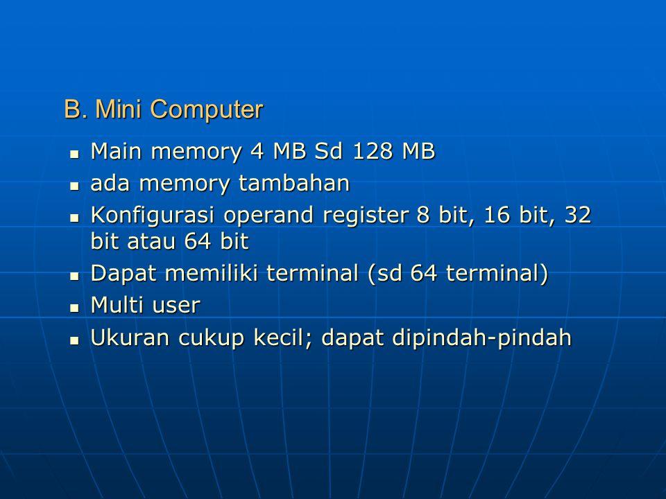 KOMPUTER BERDASARKAN KEMAMPUANNYA A. Micro Computer Personal Computer Personal Computer Desktop Computer Desktop Computer Main Memory mulai 16 Kb Main