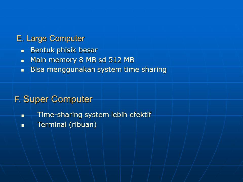 C. Small Computer Main memory 64 KB sd 8 MB Main memory 64 KB sd 8 MB Konfigurasi register 8 bit, 16 bit, 32 bit atau 64 bit Konfigurasi register 8 bi