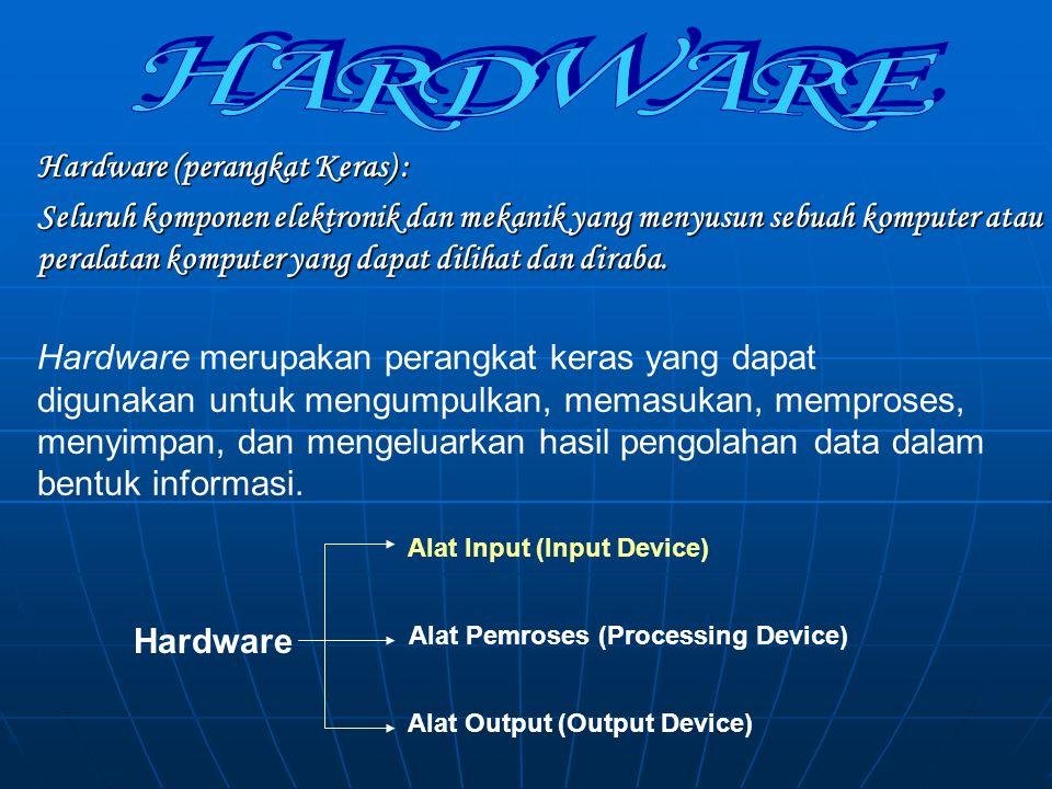 HARDWARE PERALATAN MASUKAN CPU (Central Processing UnitProcessing Unit) PERALATAN KELUARAN