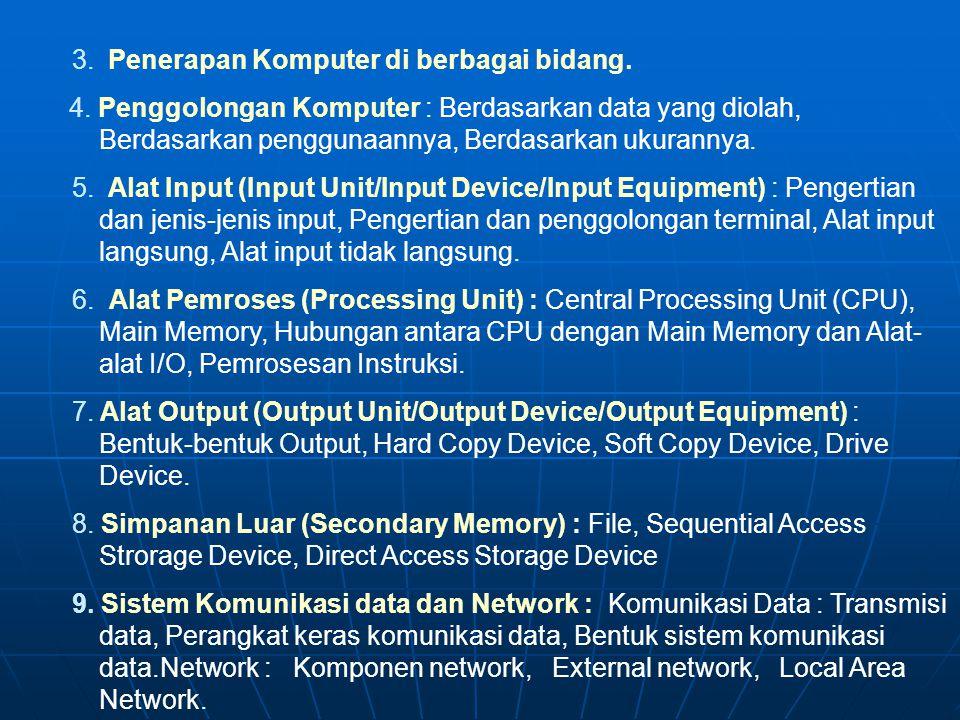 S I L A B I POKOK-POKOK BAHASAN : I. PENGANTAR DATA PROCESSING : TUJUAN : Memberikan pengetahuan cara bekerja pemrosesan data dengan alat elektronik (