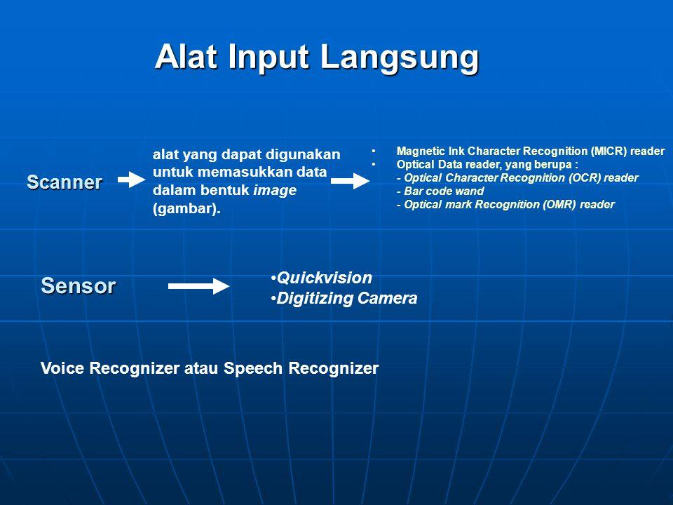 Alat Input Langsung Keyboard Pointing device Teleprinter terminal Financial transaction terminal Point of scale terminal Visual display terminal Mouse