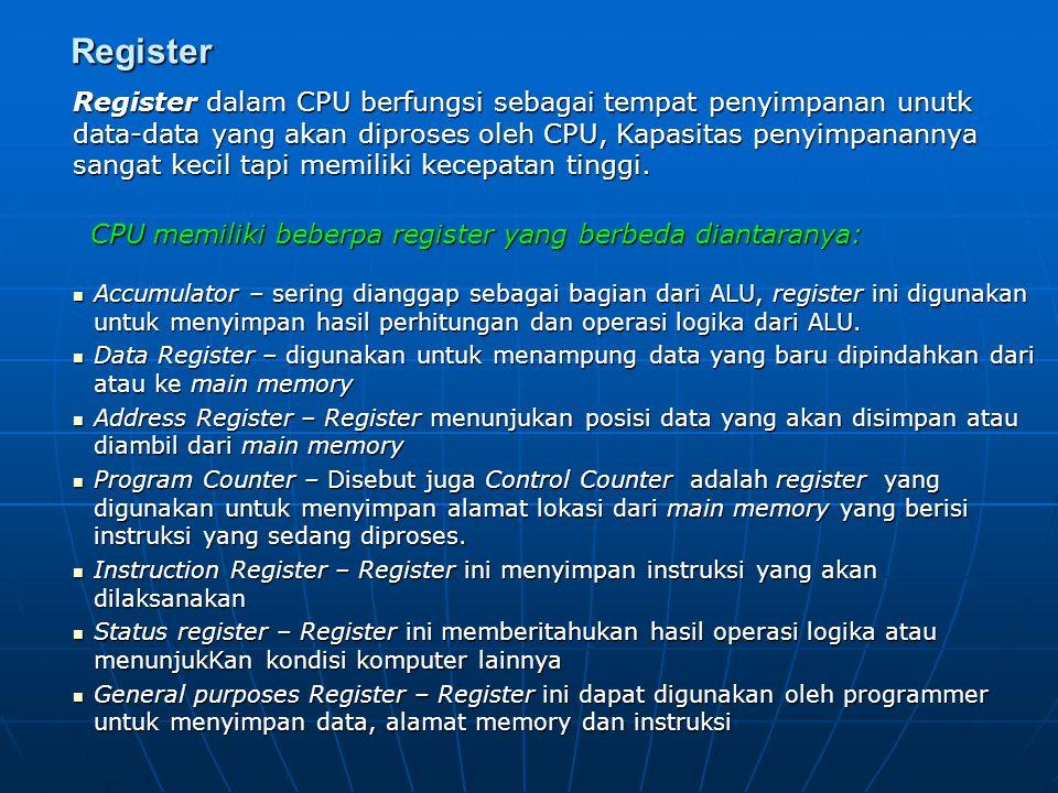 Arithmatic and Logical Unit (ALU) Merupakan bagian dari CPU yang melaksanakan semua perhitungan aritmatika atau matematika dan melaksanakan operasi lo