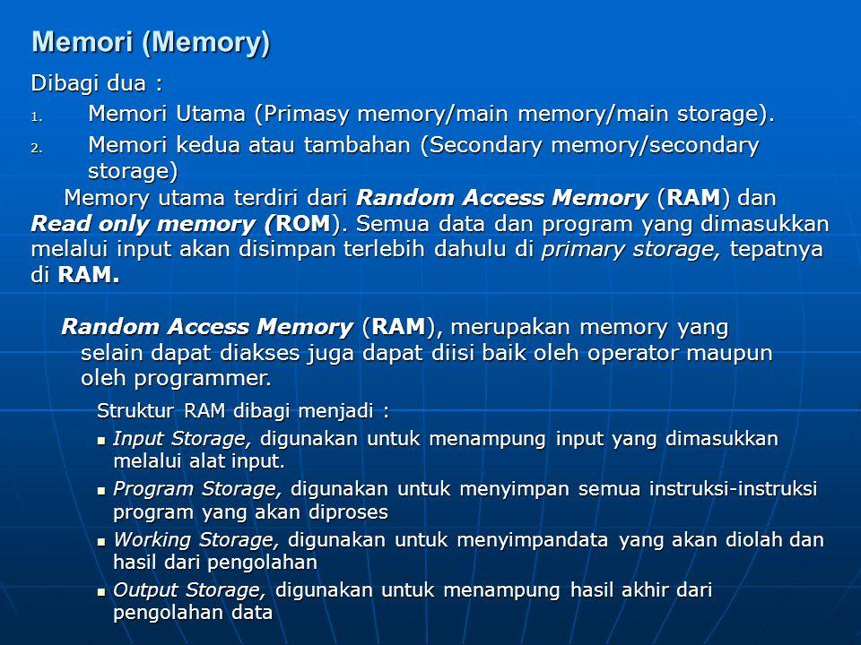 Register Register dalam CPU berfungsi sebagai tempat penyimpanan unutk data-data yang akan diproses oleh CPU, Kapasitas penyimpanannya sangat kecil ta