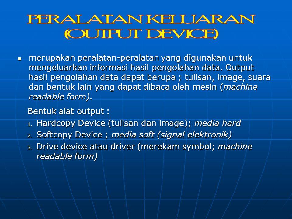 # Peralatan Proses 1. Processor 2. ROM (Read Only Memory) 2. RAM (Random Access Memory) # Peralatan Penyimpanan 1. Disket 2. Hardisk 3. CD (Compact Di