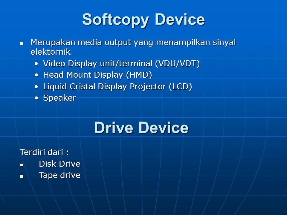 Hardcopy Device Merupakan media output dengan menggunakan perangkat keras. Merupakan media output dengan menggunakan perangkat keras. Printer Printer