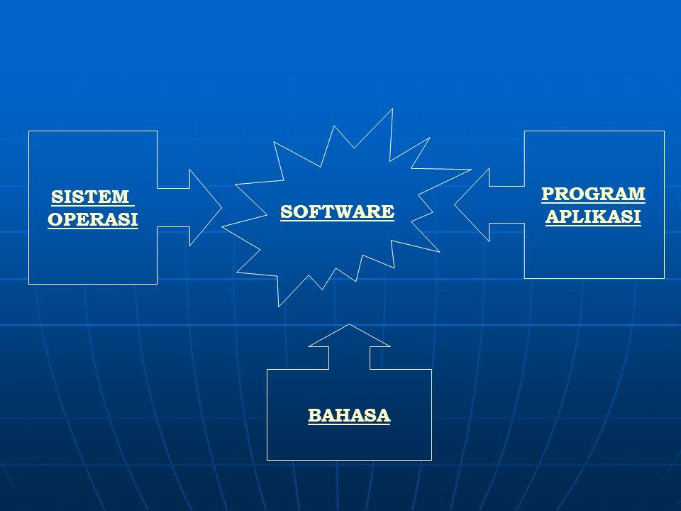 Software = sekumpulan perintah atau data yang dapat diolah oleh komputer untuk menghasilkan keluaran yang diinginkan berdasarkan data atau masukan yan