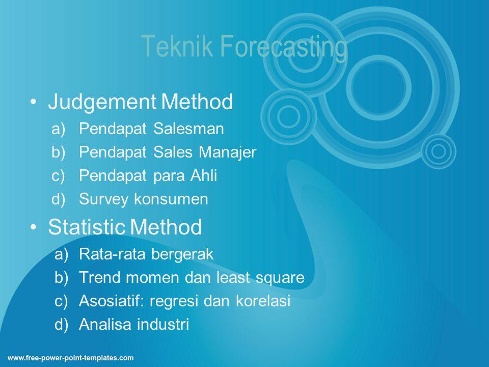 Teknik Forecasting Judgement Method a)Pendapat Salesman b)Pendapat Sales Manajer c)Pendapat para Ahli d)Survey konsumen Statistic Method a)Rata-rata b