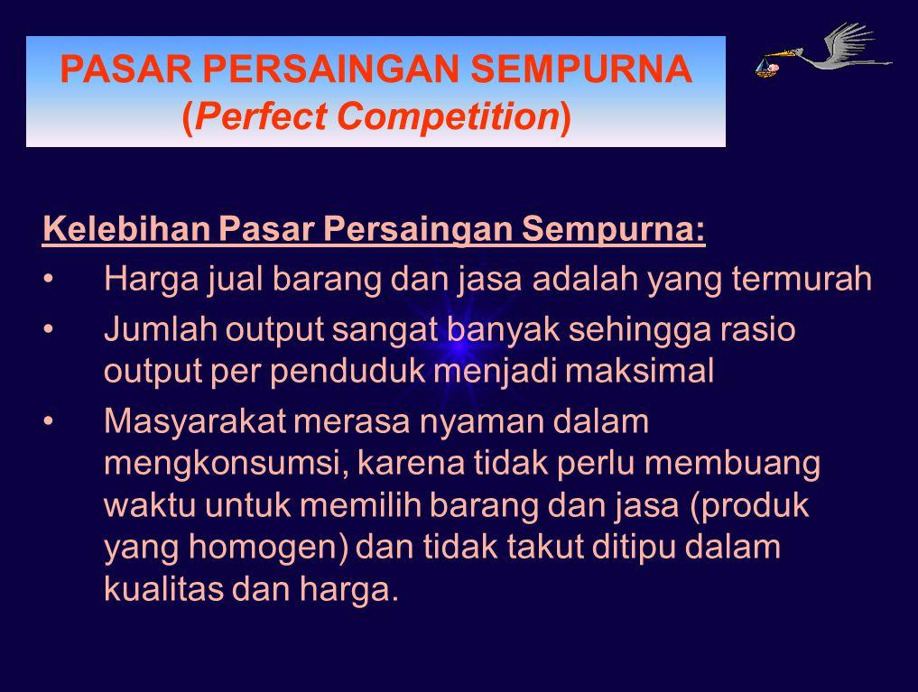 PERMINTAAN PASAR PERSAINGAN SEMPURNA (Perfect Competition) Kelebihan Pasar Persaingan Sempurna: Harga jual barang dan jasa adalah yang termurah Jumlah
