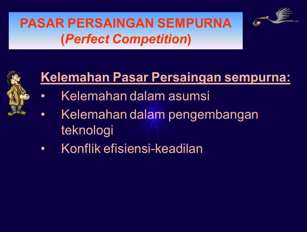 PERMINTAAN PASAR PERSAINGAN SEMPURNA (Perfect Competition) Kelemahan Pasar Persaingan sempurna: Kelemahan dalam asumsi Kelemahan dalam pengembangan te