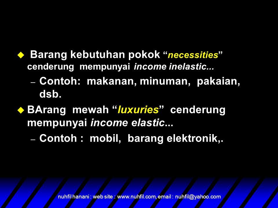 nuhfil hanani : web site : www.nuhfil.com, email : nuhfil@yahoo.com  Barang kebutuhan pokok necessities cenderung mempunyai income inelastic...