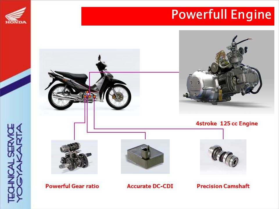 Pelopor mesin 4 langkah Pengapian CDI Piston dengan lapisan molybdenum Konstruksi ruang bakar, saluran masuk, camshaft dan katup Powerfull Gear Ratio Powerfull Engine