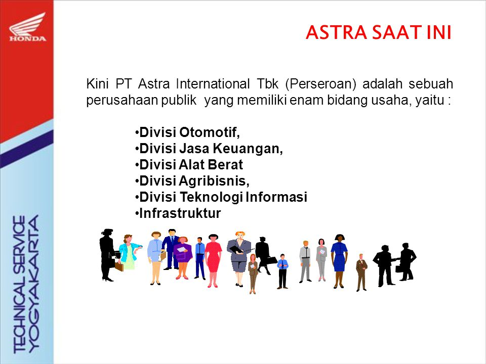 Bermula dari sebuah perusahaan dagang, Astra didirikan oleh : William Soeryadjaya & Drs Tjia Kian Tie pada tahun 1957 dengan nama : PT Astra International Incorporated ASTRA diambil dari nama DEWI ASTREA putra DEWA ZEUS yang menarik diri ke angkasa dan bersinar di antara bintang-bintang.