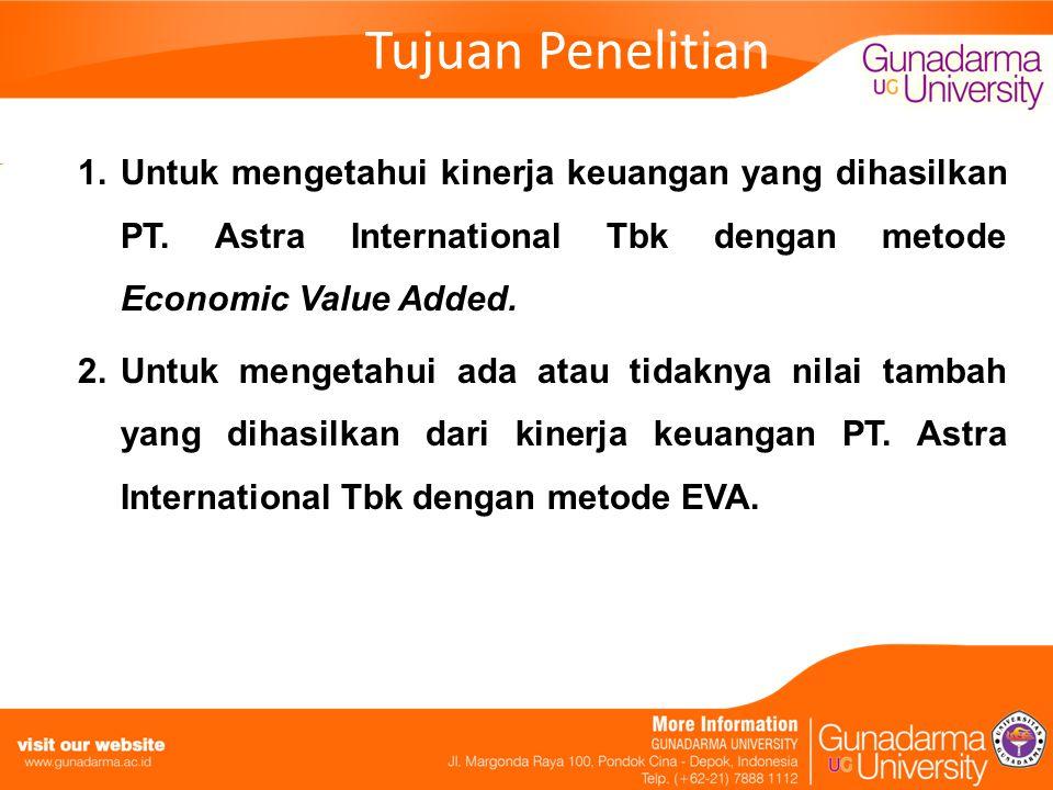 Tujuan Penelitian 1.Untuk mengetahui kinerja keuangan yang dihasilkan PT. Astra International Tbk dengan metode Economic Value Added. 2.Untuk mengetah