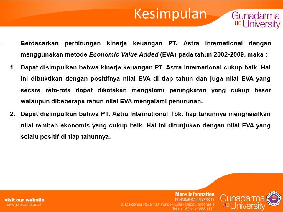 Kesimpulan Berdasarkan perhitungan kinerja keuangan PT. Astra International dengan menggunakan metode Economic Value Added (EVA) pada tahun 2002-2009,
