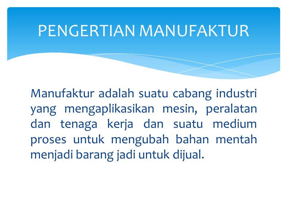 Manufaktur adalah suatu cabang industri yang mengaplikasikan mesin, peralatan dan tenaga kerja dan suatu medium proses untuk mengubah bahan mentah men