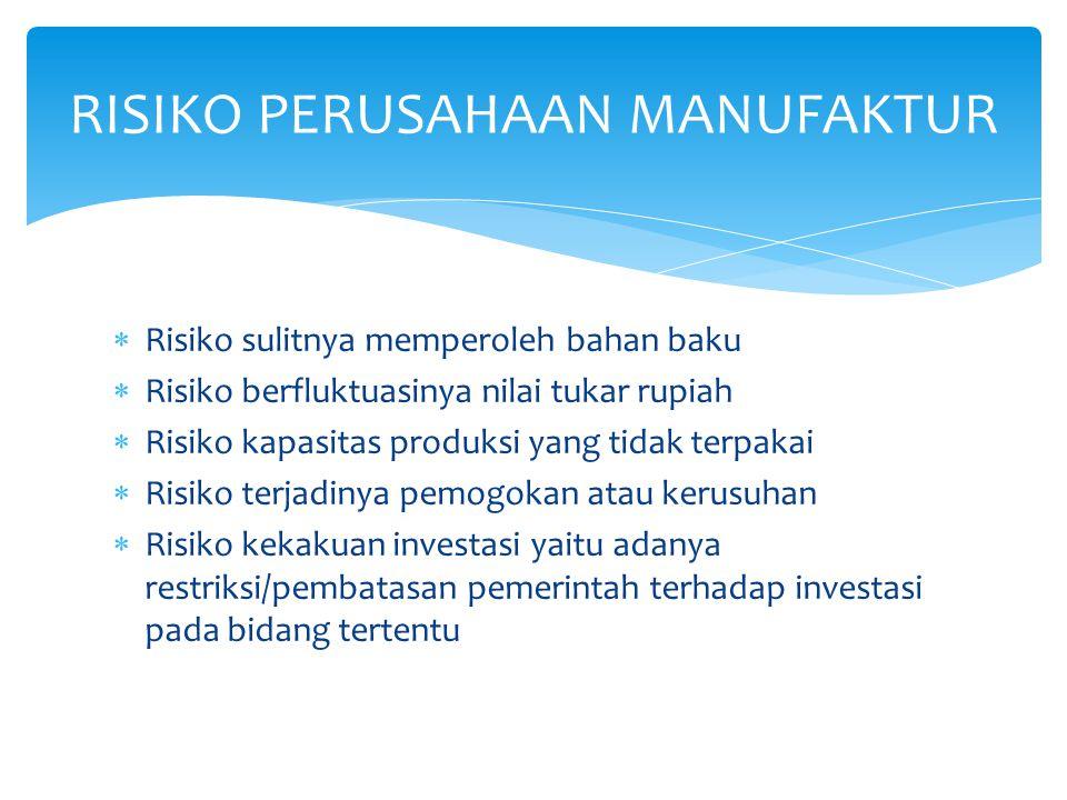  Putusnya hak paten  Risiko leverage  Risiko pemasaran  Risiko penelitian dan pengembangan produk  Risiko dampak usahan terhadap lingkungan  Risiko tidak tertagihnya piutang