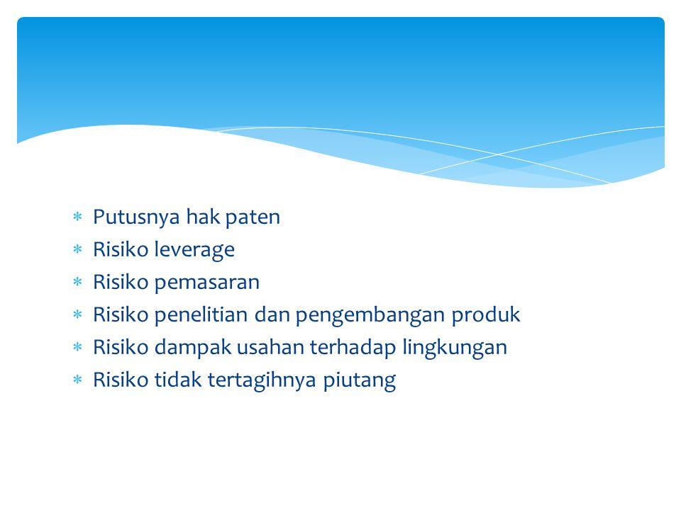  Putusnya hak paten  Risiko leverage  Risiko pemasaran  Risiko penelitian dan pengembangan produk  Risiko dampak usahan terhadap lingkungan  Ris