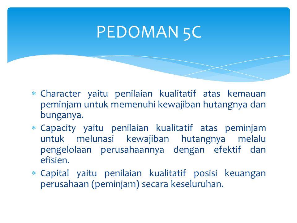  Character yaitu penilaian kualitatif atas kemauan peminjam untuk memenuhi kewajiban hutangnya dan bunganya.  Capacity yaitu penilaian kualitatif at
