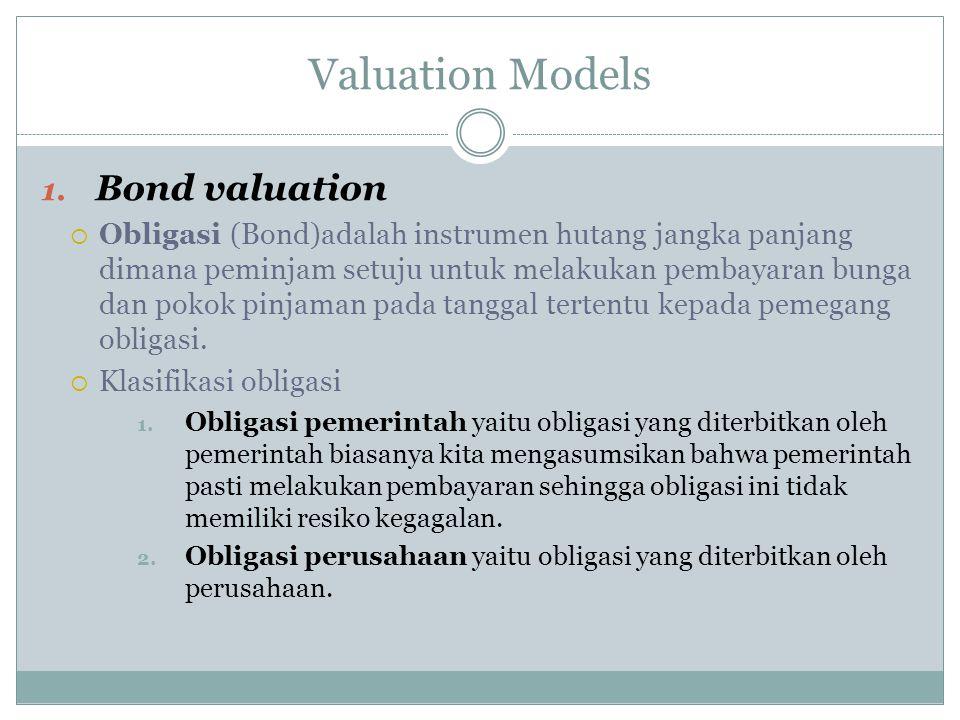 Valuation Models 1. Bond valuation  Obligasi (Bond)adalah instrumen hutang jangka panjang dimana peminjam setuju untuk melakukan pembayaran bunga dan