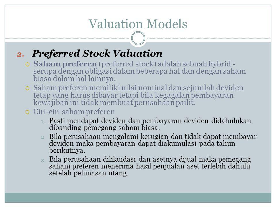 Valuation Models 2. Preferred Stock Valuation  Saham preferen (preferred stock) adalah sebuah hybrid - serupa dengan obligasi dalam beberapa hal dan