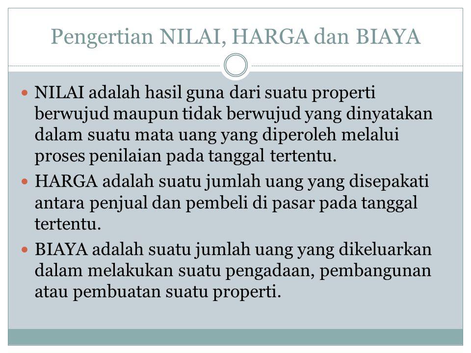 Pengertian NILAI, HARGA dan BIAYA NILAI adalah hasil guna dari suatu properti berwujud maupun tidak berwujud yang dinyatakan dalam suatu mata uang yan