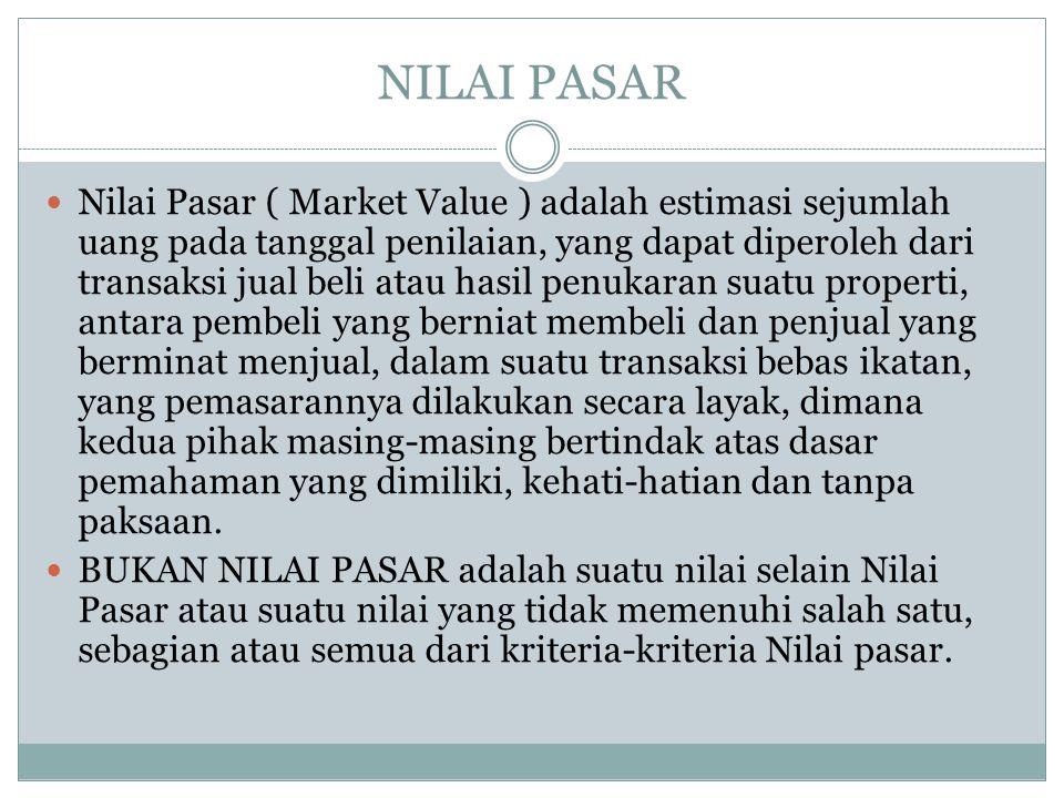 NILAI PASAR Nilai Pasar ( Market Value ) adalah estimasi sejumlah uang pada tanggal penilaian, yang dapat diperoleh dari transaksi jual beli atau hasi