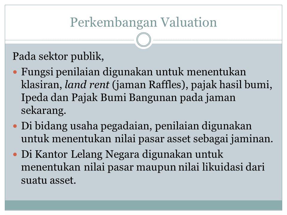 Perkembangan Valuation Pada sektor publik, Fungsi penilaian digunakan untuk menentukan klasiran, land rent (jaman Raffles), pajak hasil bumi, Ipeda da