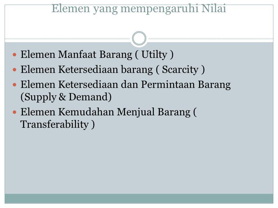 Elemen yang mempengaruhi Nilai Elemen Manfaat Barang ( Utilty ) Elemen Ketersediaan barang ( Scarcity ) Elemen Ketersediaan dan Permintaan Barang (Sup