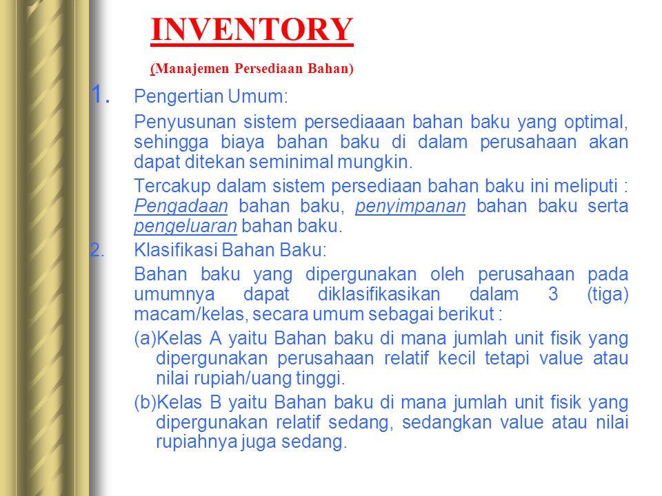 INVENTORY (Manajemen Persediaan Bahan) 1. Pengertian Umum: Penyusunan sistem persediaaan bahan baku yang optimal, sehingga biaya bahan baku di dalam p
