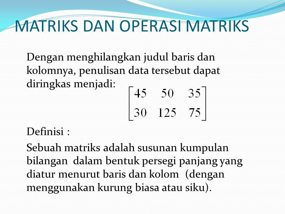 MATRIKS DAN OPERASI MATRIKS Dengan menghilangkan judul baris dan kolomnya, penulisan data tersebut dapat diringkas menjadi: Definisi : Sebuah matriks