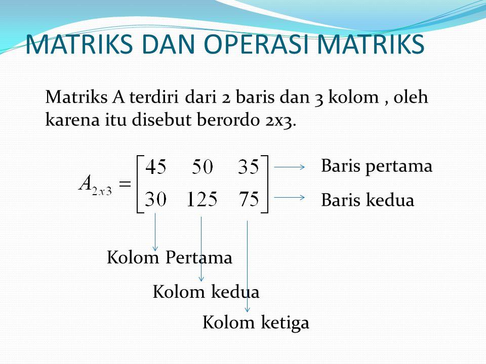 MATRIKS DAN OPERASI MATRIKS Matriks A terdiri dari 2 baris dan 3 kolom, oleh karena itu disebut berordo 2x3. Baris pertama Baris kedua Kolom Pertama K