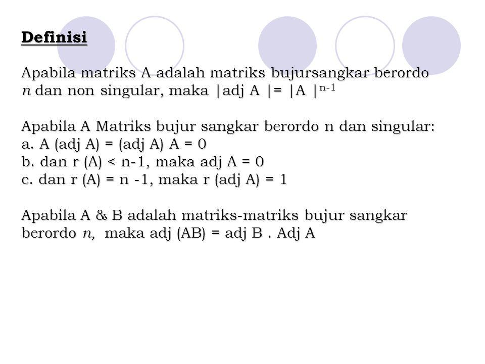 Definisi Apabila matriks A adalah matriks bujursangkar berordo n dan non singular, maka |adj A |= |A | n-1 Apabila A Matriks bujur sangkar berordo n d