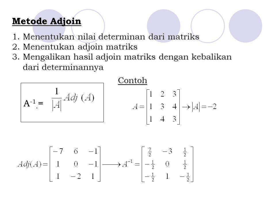 Metode Adjoin 1. Menentukan nilai determinan dari matriks 2. Menentukan adjoin matriks 3. Mengalikan hasil adjoin matriks dengan kebalikan dari determ