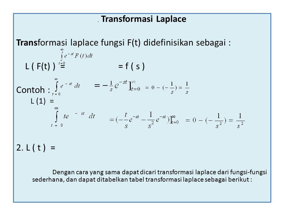 Transformasi Laplace Transformasi laplace fungsi F(t) didefinisikan sebagai : L ( F(t) ) = = f ( s ) Contoh : L (1) = 2.