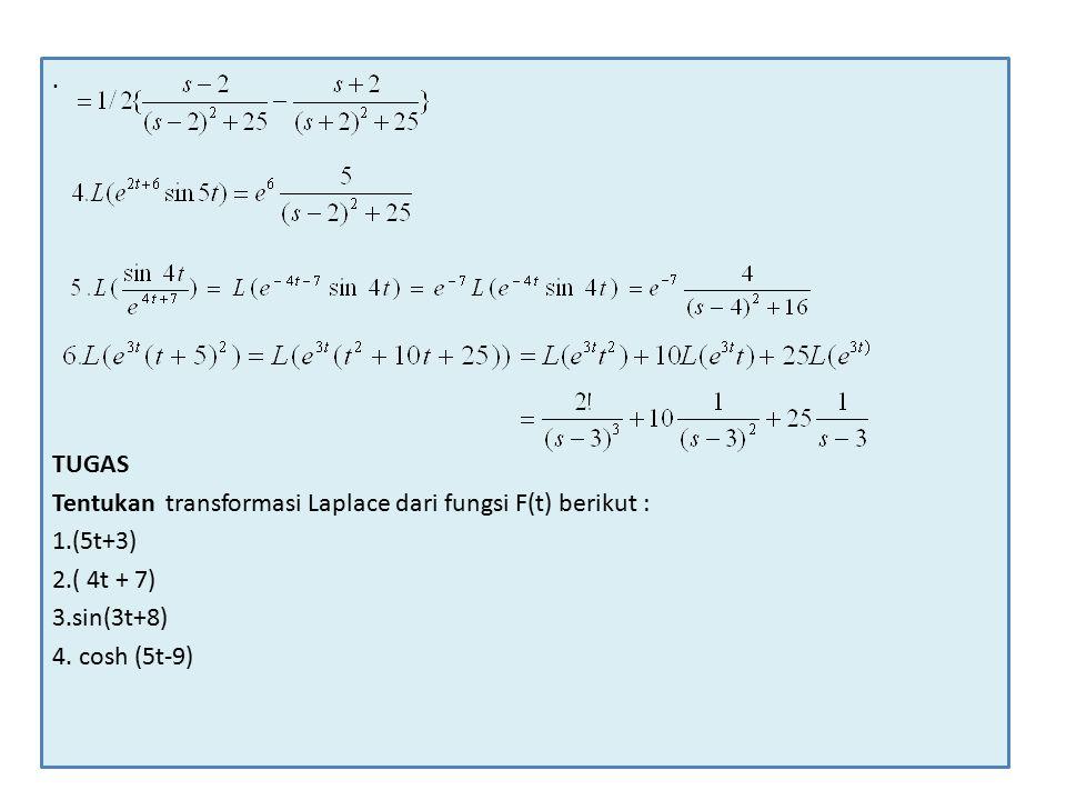 TUGAS Tentukan transformasi Laplace dari fungsi F(t) berikut : 1.(5t+3) 2.( 4t + 7) 3.sin(3t+8) 4.