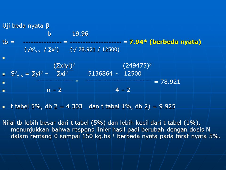 Uji beda nyata β b 19.96 tb = --------------- = -------------------- = 7.94* (berbeda nyata) (√s / ∑x)(√ 78.921 / 12500) (√s 2 y.x / ∑x 2 )(√ 78.921 /