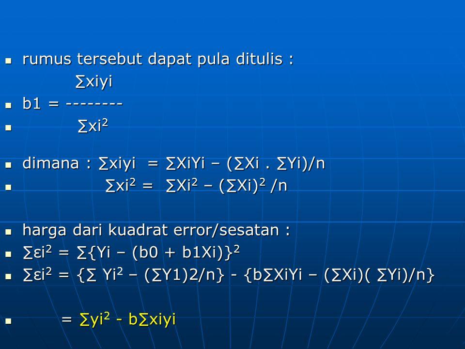 rumus tersebut dapat pula ditulis : rumus tersebut dapat pula ditulis :∑xiyi b1 = -------- b1 = -------- ∑xi 2 ∑xi 2 dimana : ∑xiyi = ∑XiYi – (∑Xi. ∑Y