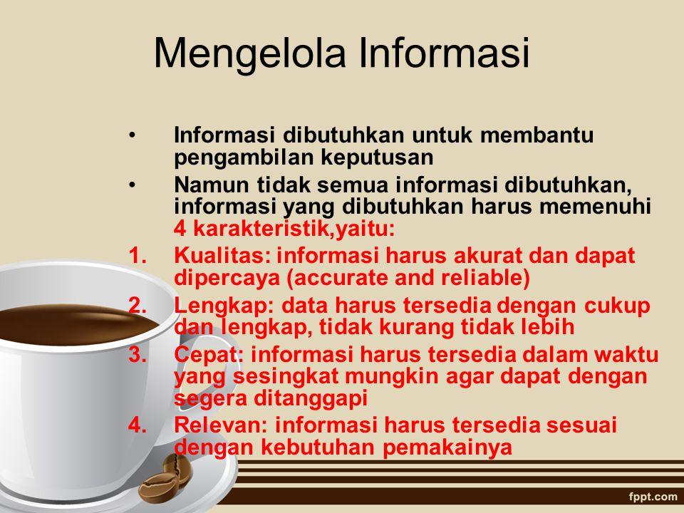 Mengelola Informasi Informasi dibutuhkan untuk membantu pengambilan keputusan Namun tidak semua informasi dibutuhkan, informasi yang dibutuhkan harus