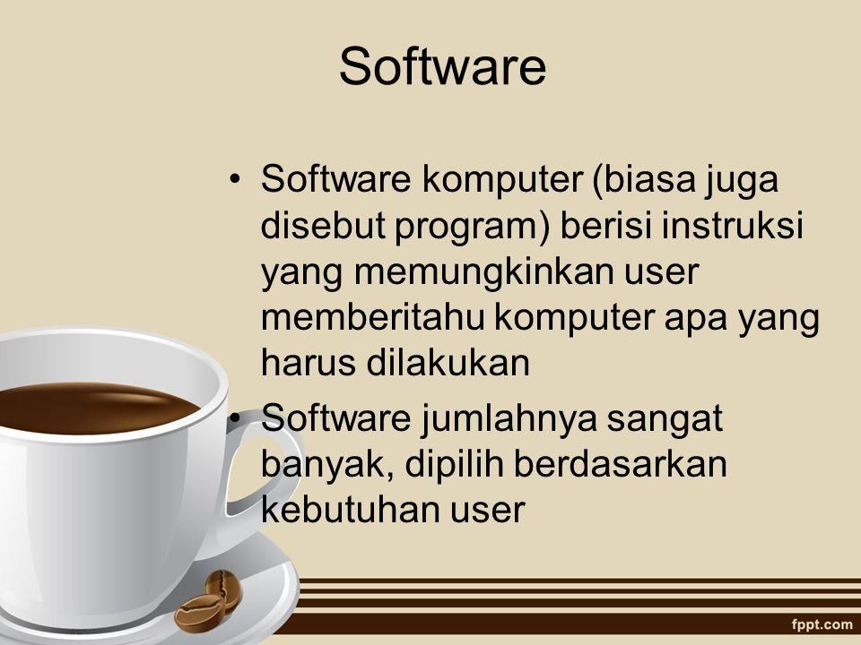 Software Software komputer (biasa juga disebut program) berisi instruksi yang memungkinkan user memberitahu komputer apa yang harus dilakukan Software